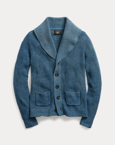 Indigo Cotton Shawl Cardigan