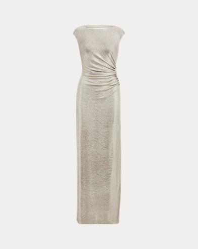 Metallic Jersey Open-Back Gown