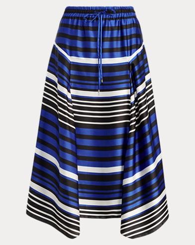 Striped Satin Drawstring Skirt