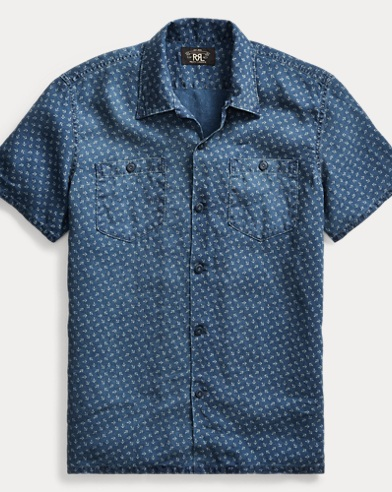 Anchor-Print Linen Camp Shirt