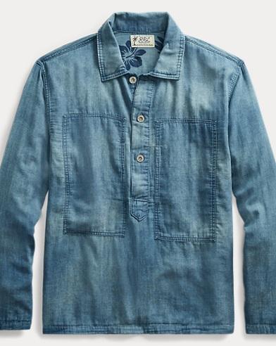 Indigo Cotton Popover Shirt