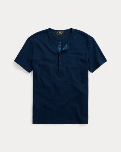 Indigo Cotton Henley Shirt