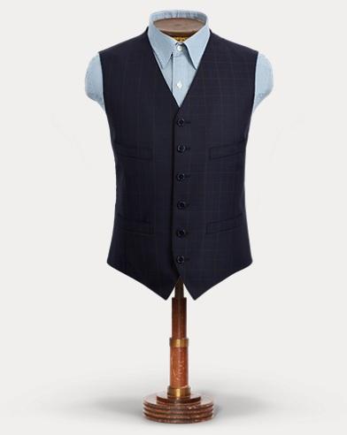 Windowpane Wool Dobby Vest