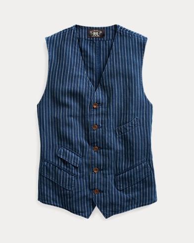 Striped Cotton-Linen Vest