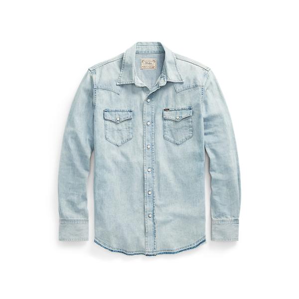 Ralph Lauren Classic Fit Denim Western Shirt In Bailey Ldh