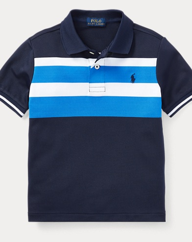Striped Tech Mesh Polo Shirt