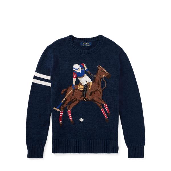 Ralph Lauren Cotton-Blend Graphic Sweater Chateau Navy M