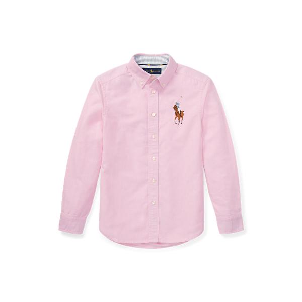 폴로 랄프로렌 보이즈 빅 포니 옥스포드 셔츠 Polo Ralph Lauren Big Pony Cotton Oxford Shirt,Pink