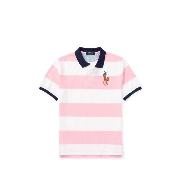 Ralph Lauren Striped Cotton Mesh Polo Shirt Carmel Pink Xl