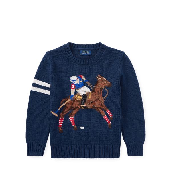 Ralph Lauren Cotton-Blend Graphic Sweater Chateau Navy 4T