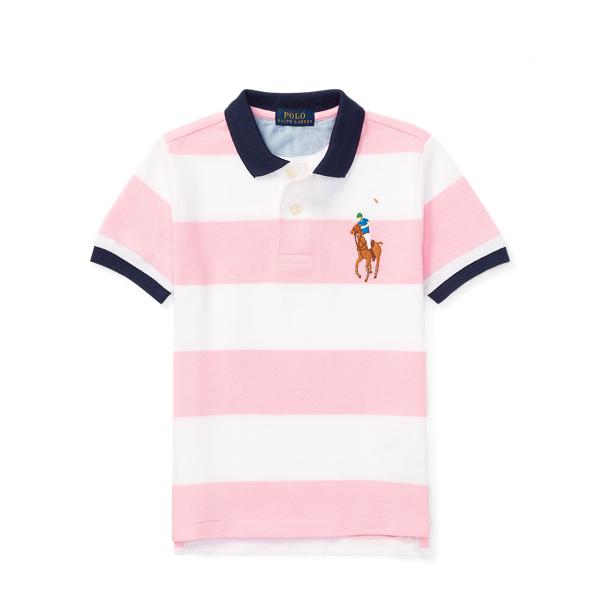 Ralph Lauren Striped Cotton Mesh Polo Shirt Carmel Pink 3T