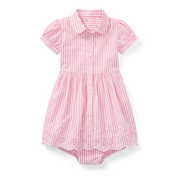 Ralph Lauren Eyelet-Hem Dress & Bloomer Pink/White 3M