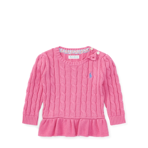 Ralph Lauren Cable Cotton Peplum Sweater Hammond Pink 24M