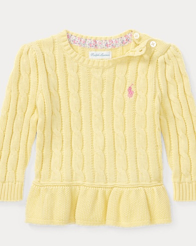 Cable Cotton Peplum Sweater