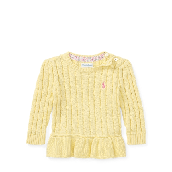 Ralph Lauren Cable Cotton Peplum Sweater Wicket Yellow 24M