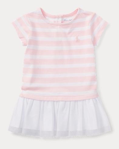 T-Shirt-Kleid aus Jersey-Tüll