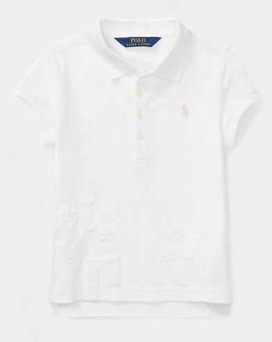 Embroidered Flower Polo Shirt