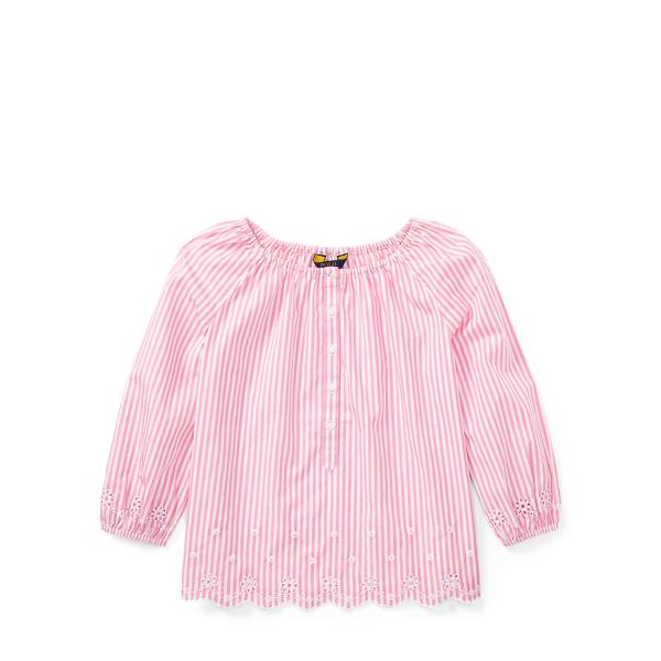 Ralph Lauren Striped Eyelet Cotton Top Pink/White 16