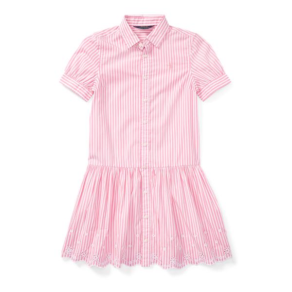 Ralph Lauren Striped Cotton Shirtdress Pink/White 14