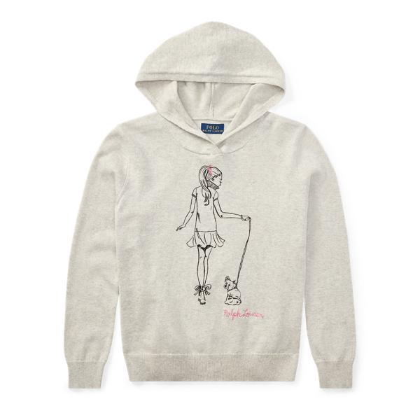 Ralph Lauren Hooded Cotton Graphic Sweater Light Sport Heather S