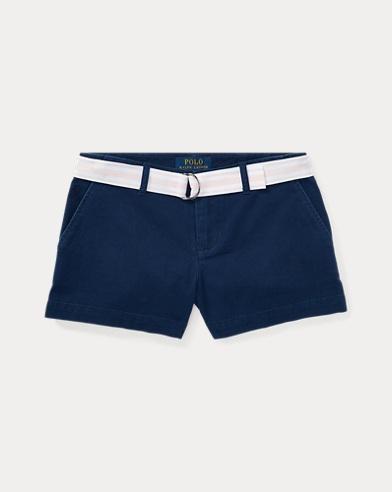 Short chino di cotone con cintura