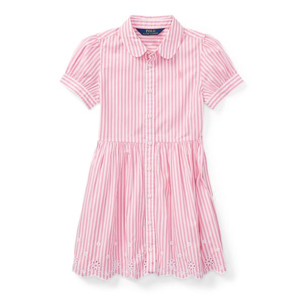Ralph Lauren Striped Cotton Shirtdress Pink/White 2T