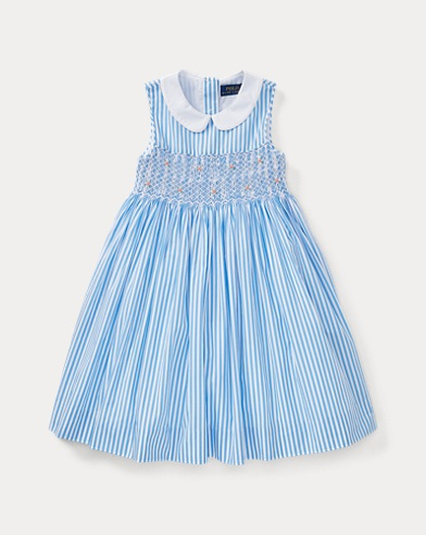 Striped Smocked Cotton Dress