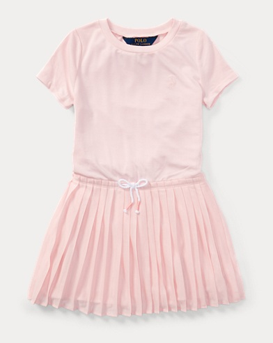 Pleated Jersey T-Shirt Dress