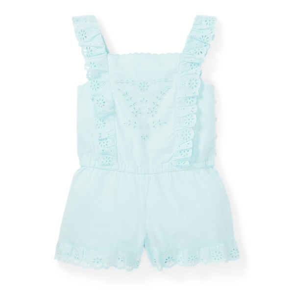 Ralph Lauren Eyelet Cotton Romper Crystal Blue 6X