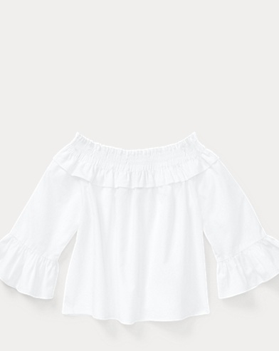 Smocked Cotton Bell-Sleeve Top