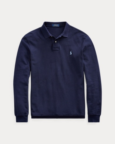 Slim Fit Mesh Long-Sleeve Polo