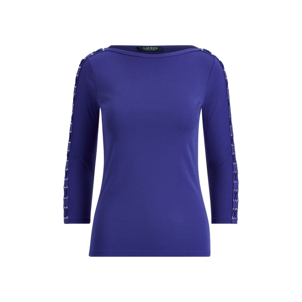 Ralph Lauren Lace-Up Cotton Boatneck Top Empress Blue S