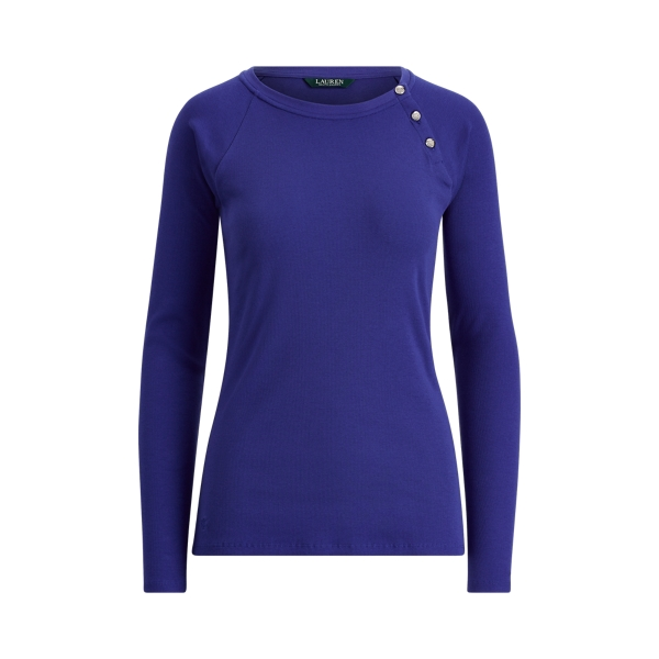 Ralph Lauren Button-Trim Cotton Top Empress Blue L