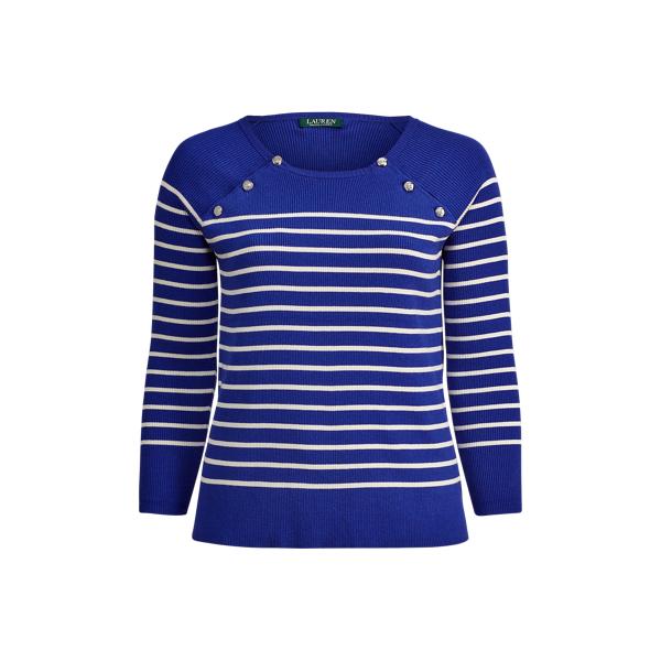 Ralph Lauren Button-Shoulder Cotton Sweater Empress Blue/Cream 2X