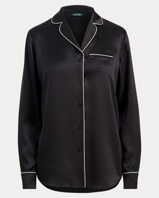 9e621c3d99 Lauren Silk Charmeuse Pajama Shirt 1