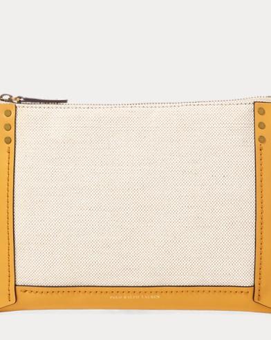 Leather-Trim Canvas Pouch
