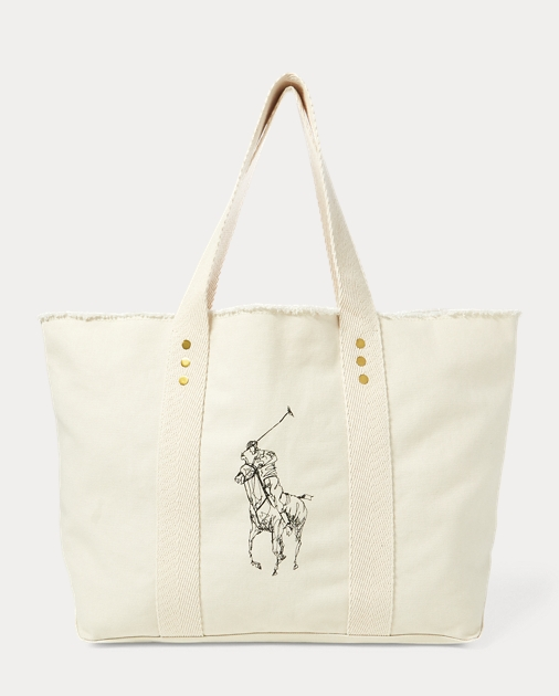 54259c054819 Polo Ralph Lauren Frayed Canvas Large Tote 1