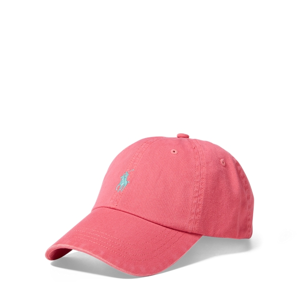 Ralph Lauren Cotton Chino Baseball Cap Hyannis Red One Size