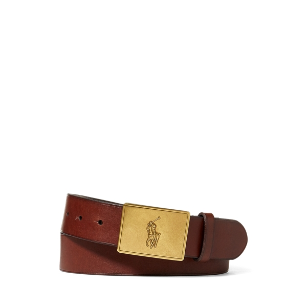 폴로 랄프로렌 Polo Ralph Lauren Pony Plaque Leather Belt,Brown