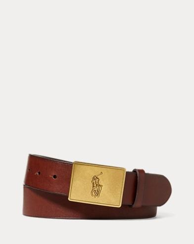 Pony Plaque Leather Belt