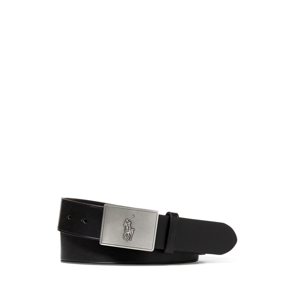 폴로 랄프로렌 Polo Ralph Lauren Pony Plaque Leather Belt,Black