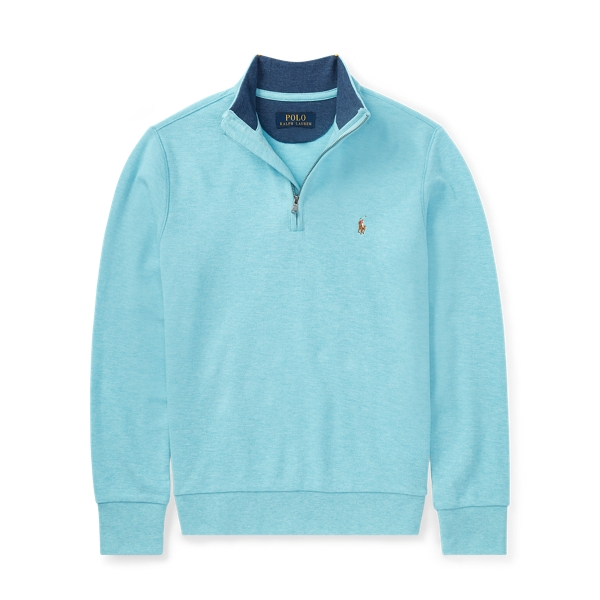 Ralph Lauren Cotton Mesh Half-Zip Pullover Beach Aqua Heather S