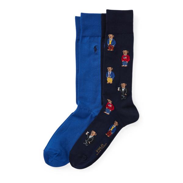 Ralph Lauren Polo Bear Trouser Sock 2-Pack Navy One Size