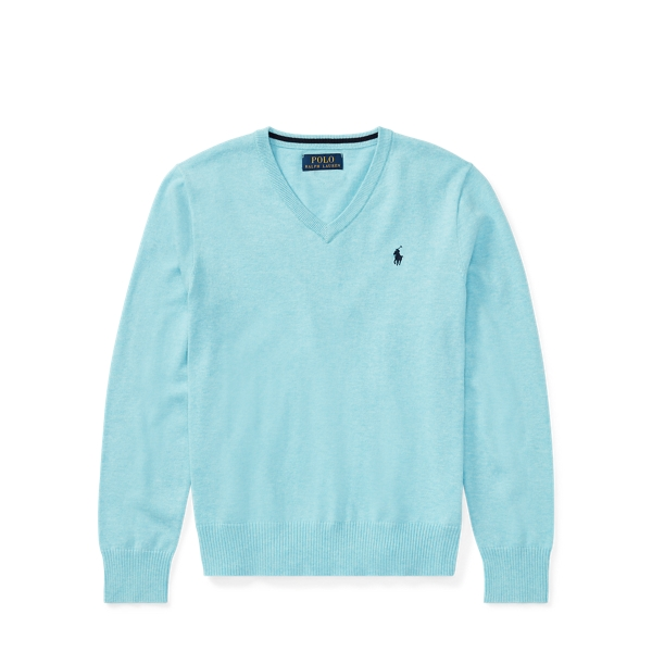 Ralph Lauren Cotton V-Neck Sweater Beach Aqua Heather S