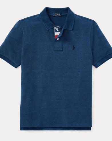 Indigo Cotton Mesh Polo Shirt