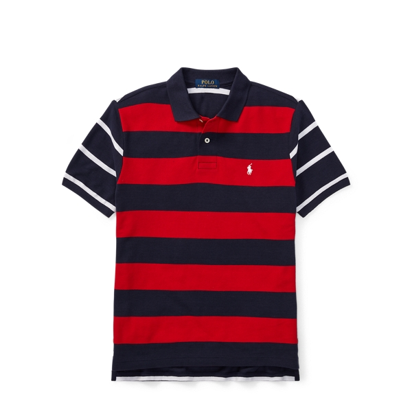 Ralph Lauren Striped Cotton Mesh Polo Shirt Rl2000 Red Multi L