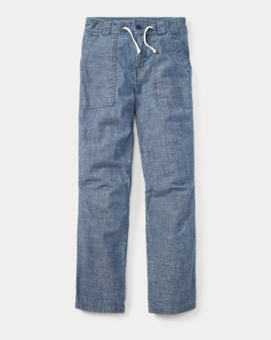 Tapered Cotton Chambray Pant