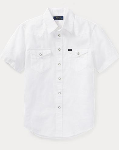 Linen-Cotton Western Shirt