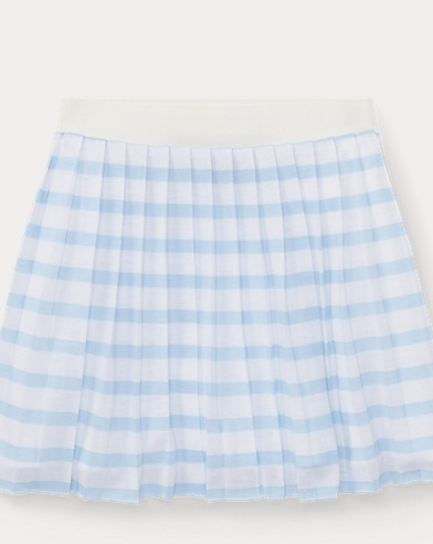 Striped Pleated Jersey Skirt