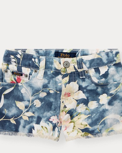 Floral Denim Cutoff Short